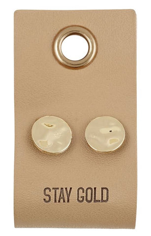 Gold Toned Circle Stud Earrings