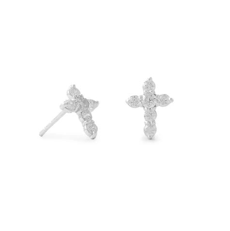 Cubic Zirconia Sterling Silver Cross Stud Earrings