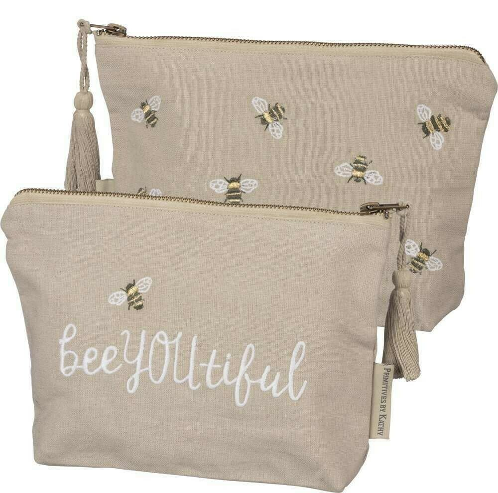 BeeYouTiful Honey Bee Zippered Pouch Primitives By Kathy Brookshire Boutique www.brookshireboutique.com