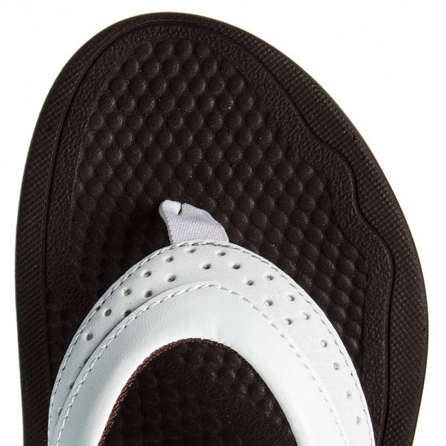 New Balance Ladies Renew Thong Sandal - White/Brown