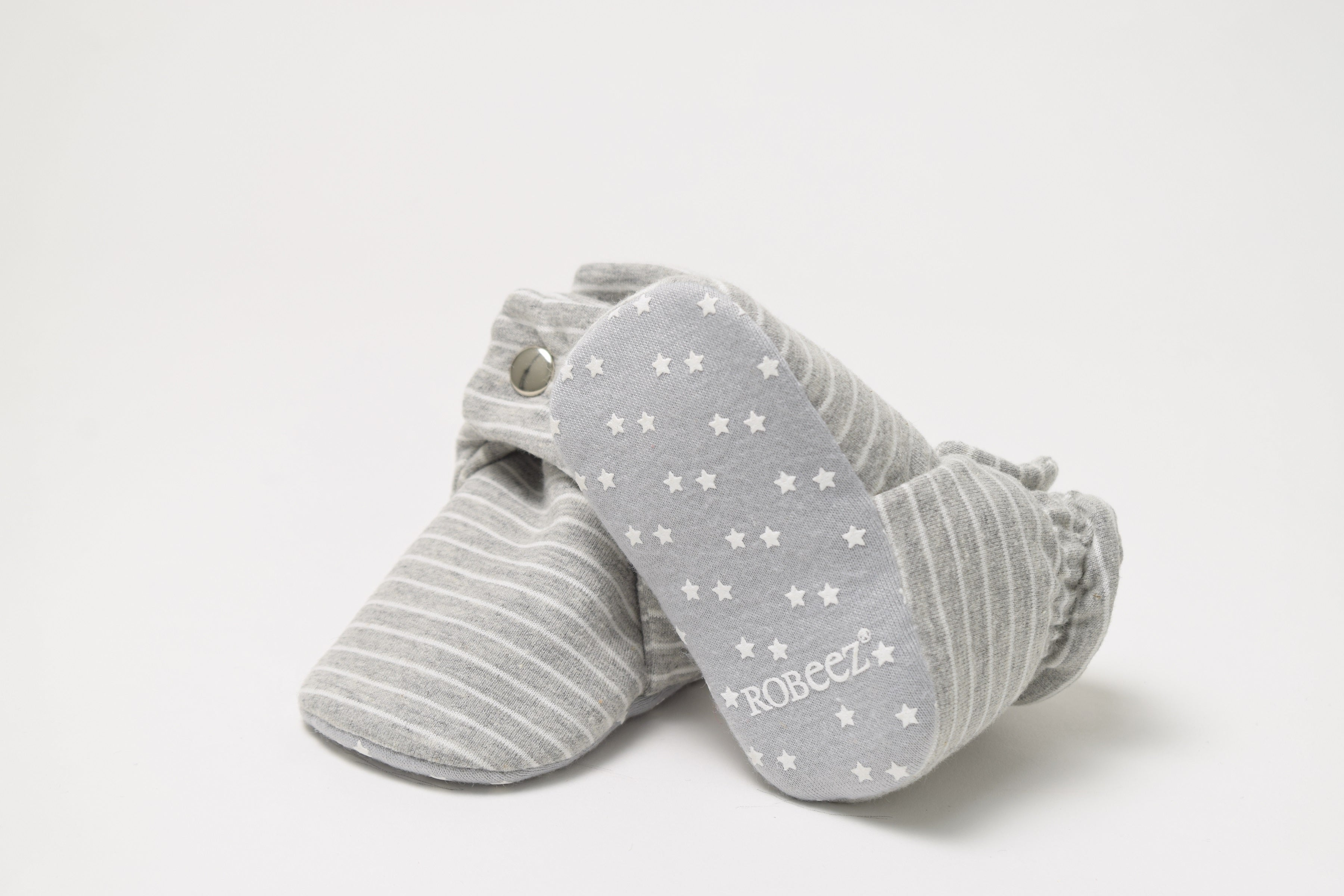 Snap Booties - Grey with White Stripes