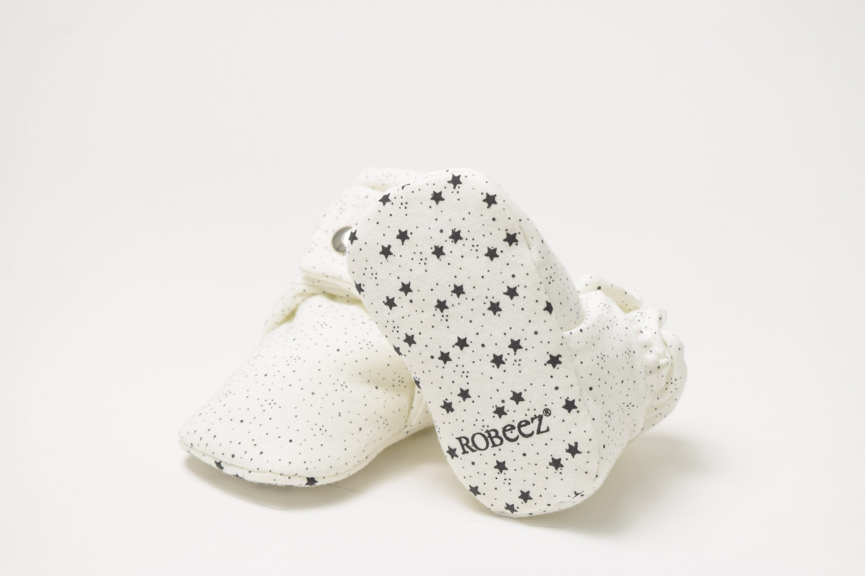 Snap Booties - White with Tiny Grey Specks