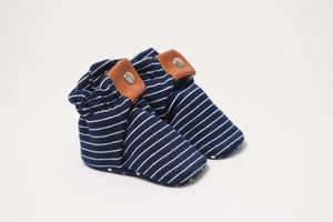 Snap Booties - Navy with White Stripes