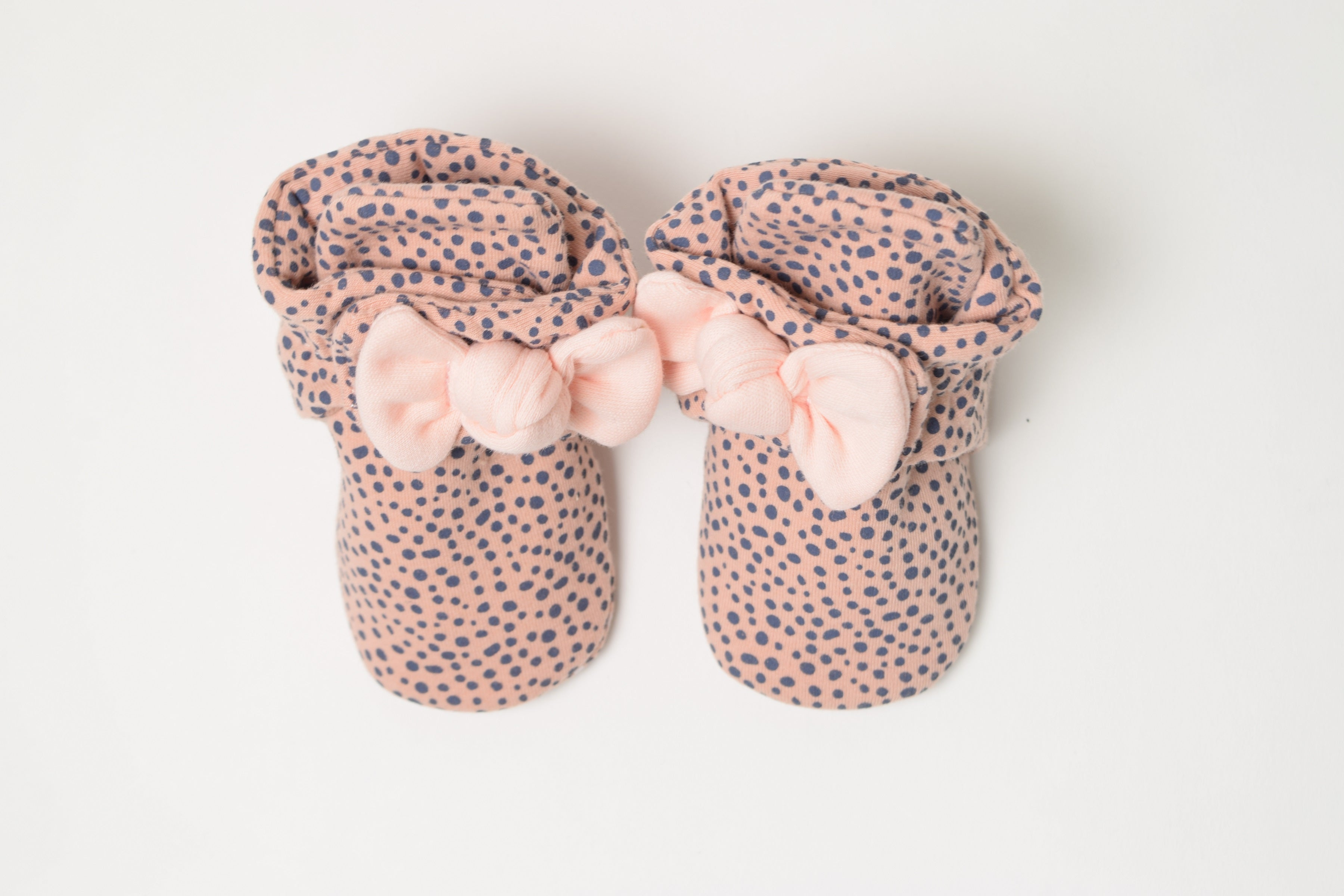 Snap Booties - Pink Animal Print with Bow
