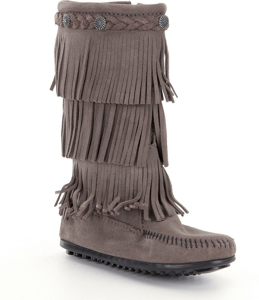 Minnetonka Moc Kids 3-Fringe Boot in Gray