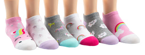 Stride Rite No Show Retta Unicorn Socks - 6 Pack