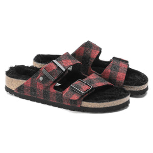 Arizona Adult Shearling Wool Sandal - Red Plaid