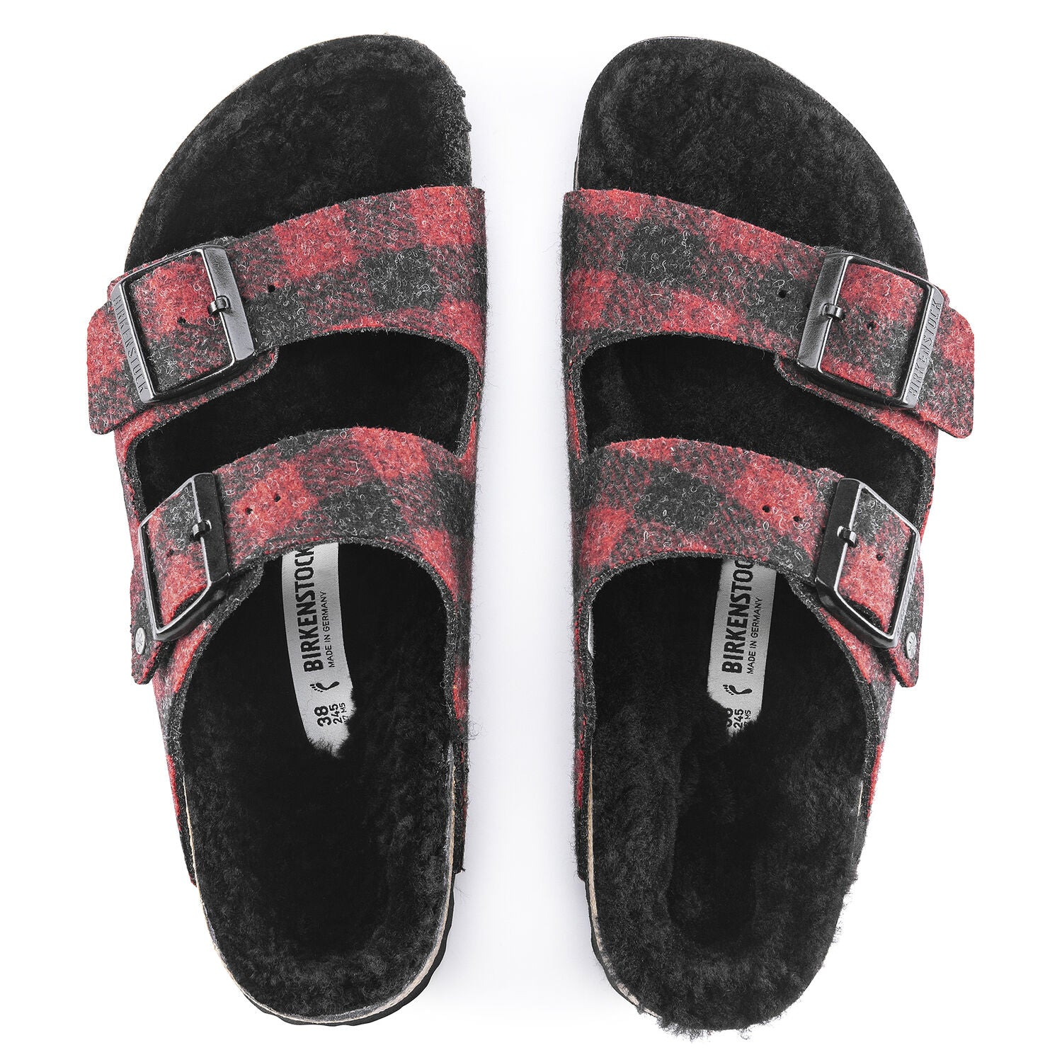Arizona Shearling Wool Sandal - Red Plaid