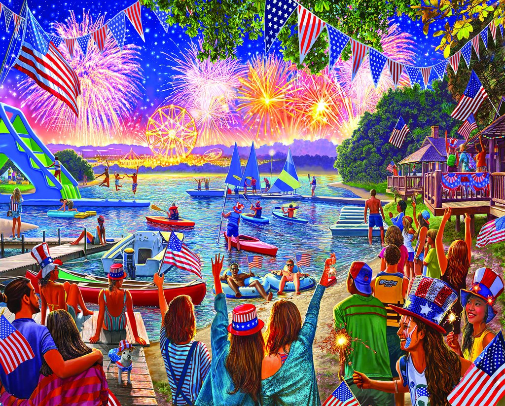 4th of July Fireworks (1585) - 1000 Piece Jigsaw Puzzle