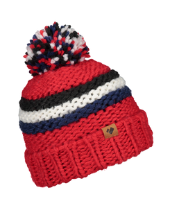 Adult Pom Beanie - Red/White/Blk/Blue