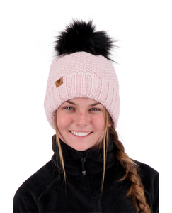 Obermeyer Riverside Faux Fur Pom Hat - Dusty Rose