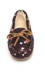 Minnetonka Moc Kids Cassie Slipper in Raisin (Sizes 9-4)