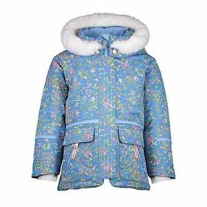 Girls Lindy with Faux Fur Jacket - Blue Floral