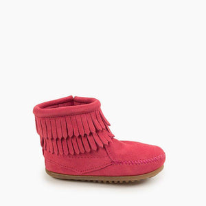 Minnetonka Moc Kids' Double Fringe Side Zip Boot - Pink
