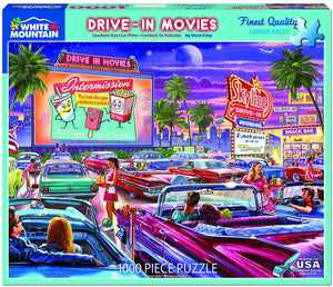 White Mountain Drive-In Movie Jigsaw Puzzle