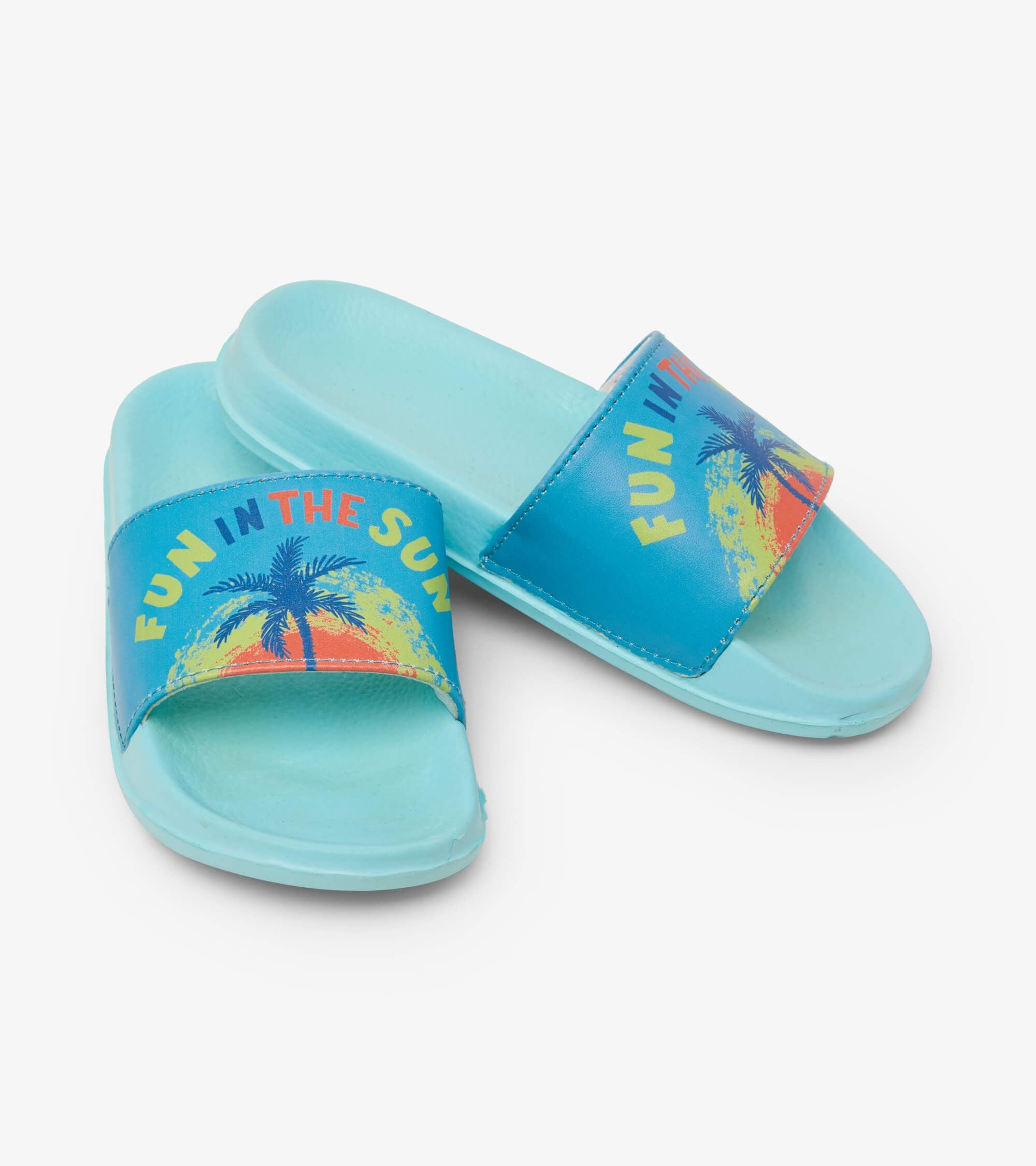 Fun In The Sun Slide On Sandals - Aruba Blue