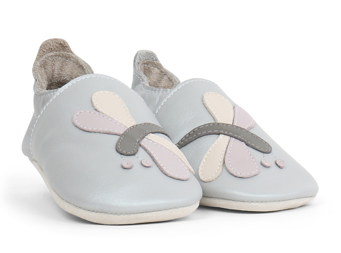 Soft Sole Leather - Silver Dragonfly