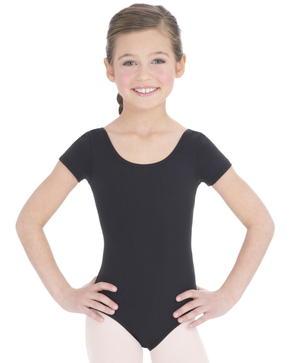 Capezio Short Sleeve Leotard in Black -  - Little Feet Childrens Shoes