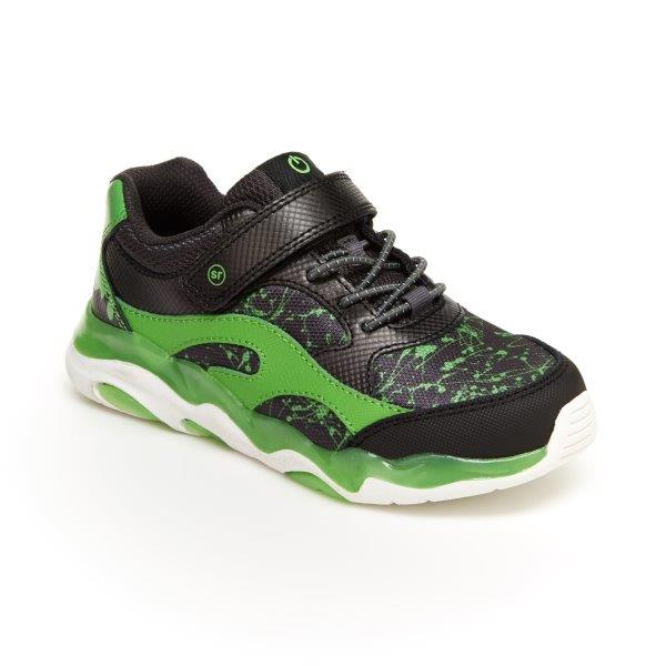 Stride Rite Light-Up Swirl Sneaker - Black/Lime