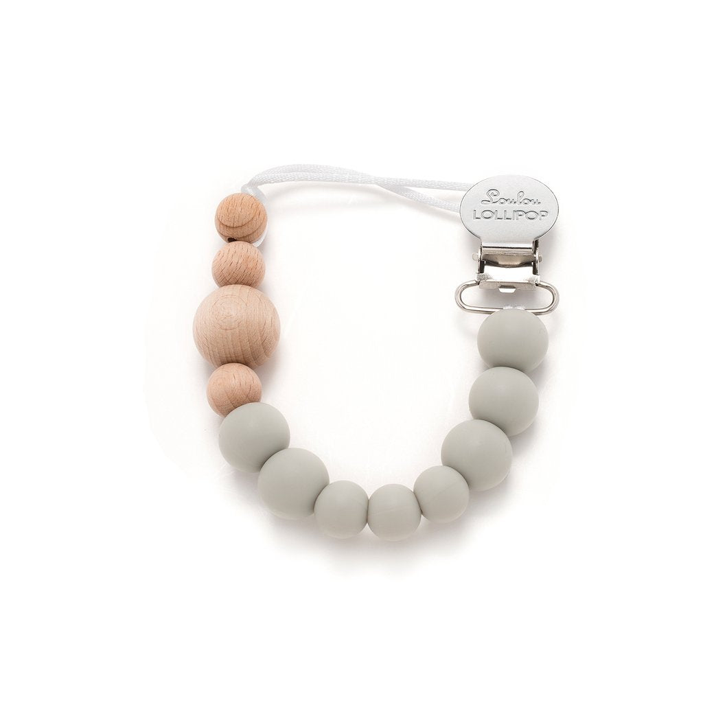 Colour Block Silicone & Wood Pacifier Clip