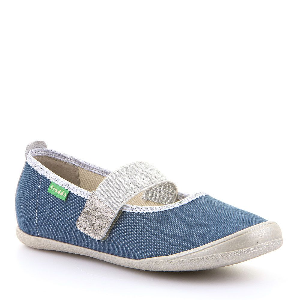Canvas Mary Jane Ballerina - Denim with Silver
