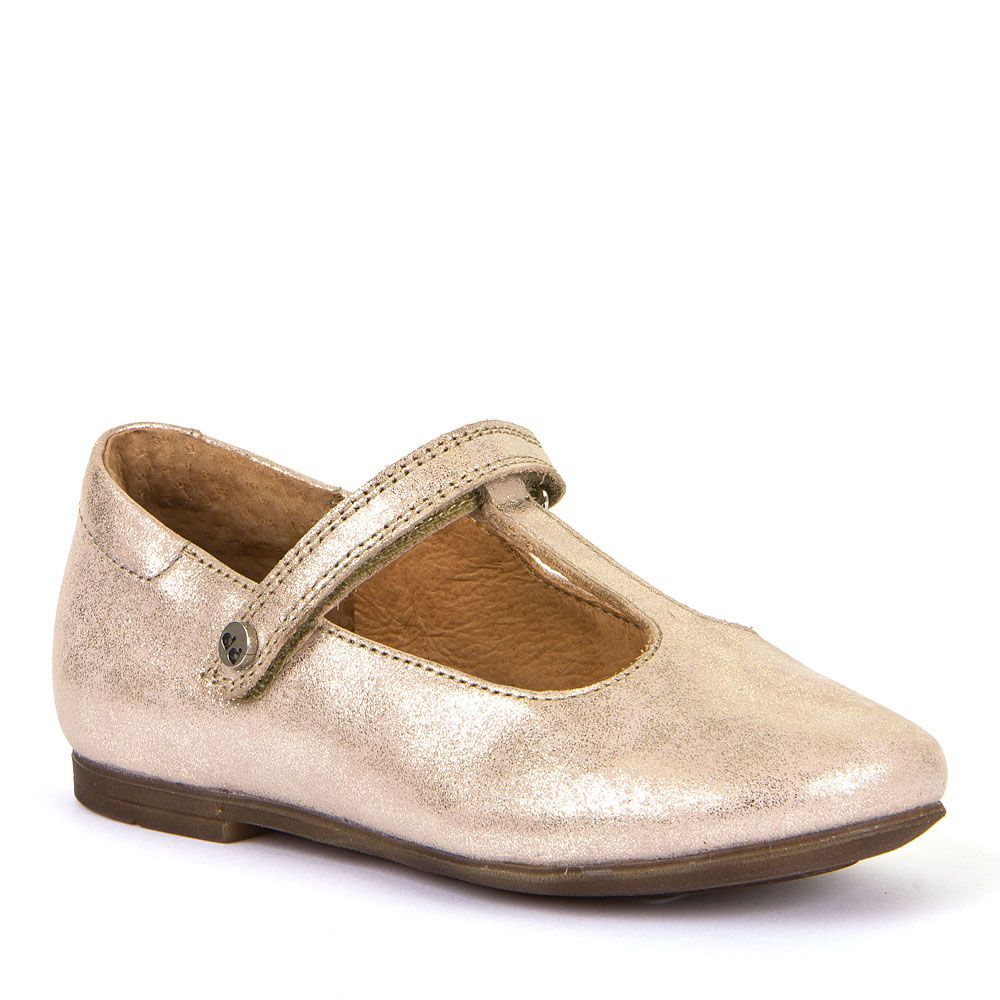 Dressy Leather T-Bar Ballerina - Gold