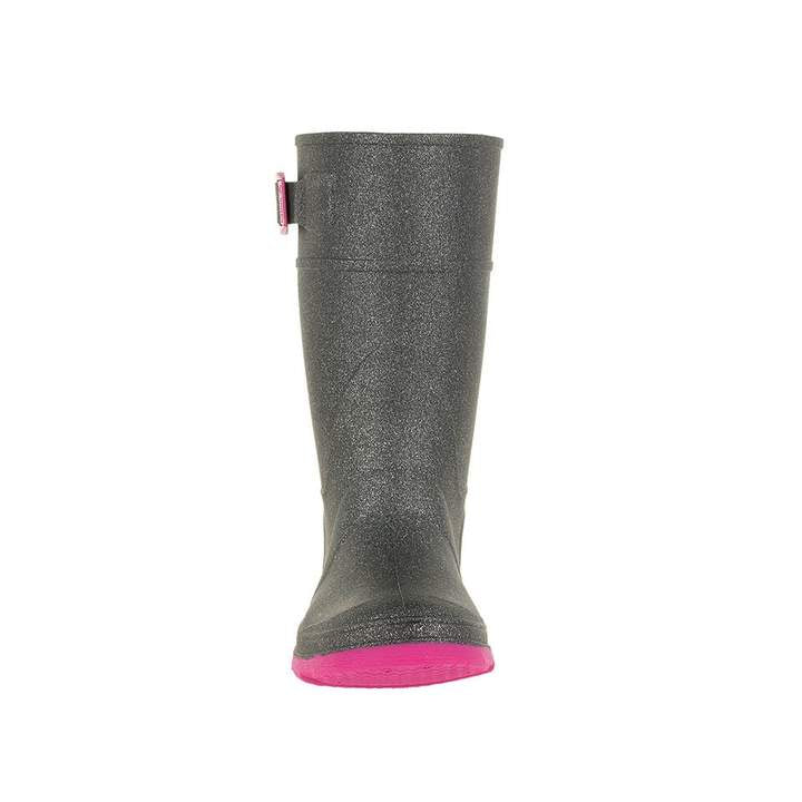 Glitzy Rain Boot - Sparkly Charcoal/Pink