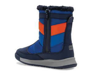 Big Kid's Alpine Puffer Waterproof Boots - Navy / Orange