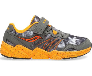 Saucony Kids Flash A/C Sneaker - Grey/Orange