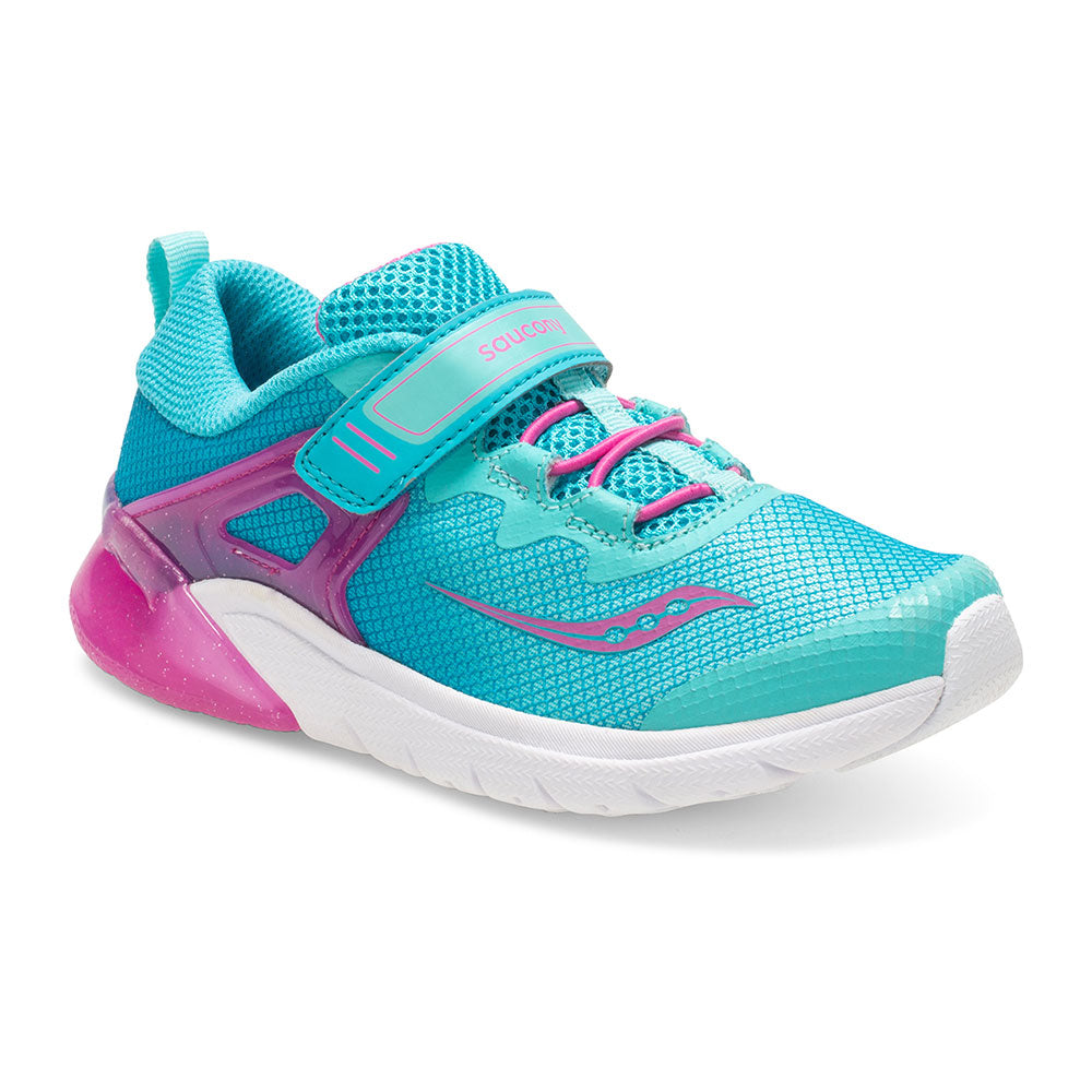 Saucony Flash Glow Velcro in Turquoise/Pink