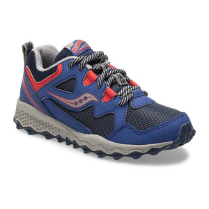 Saucony Kids Peregrine Shield 2 Trail Sneaker - Navy/Red