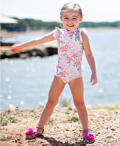RuffleButts Fab Flamingo Flutter One Piece