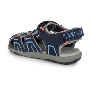 See Kai Run Lincoln IV Sandal - Navy/Orange