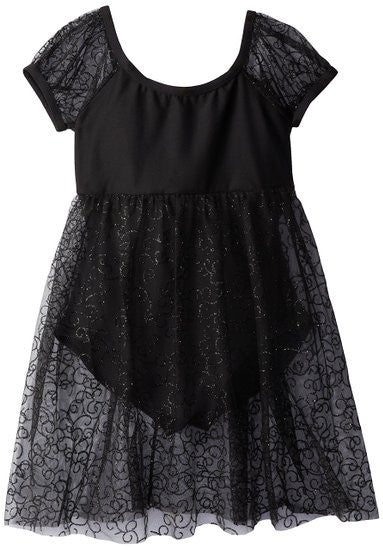 Capezio Empire Puff Sleeve Dress in Black -  - Little Feet Childrens Shoes  - 1