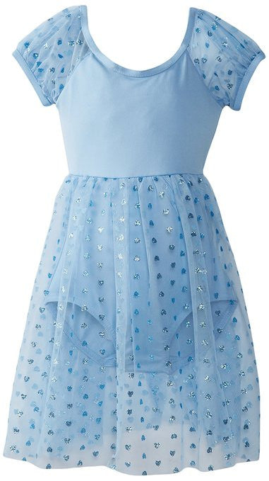 Capezio Empire Puff Sleeve Dress in Blue -  - Little Feet Childrens Shoes  - 1