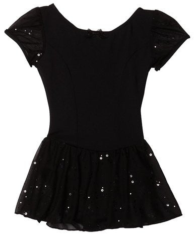 Capezio Sequined Puff Sleeve Dress in Black