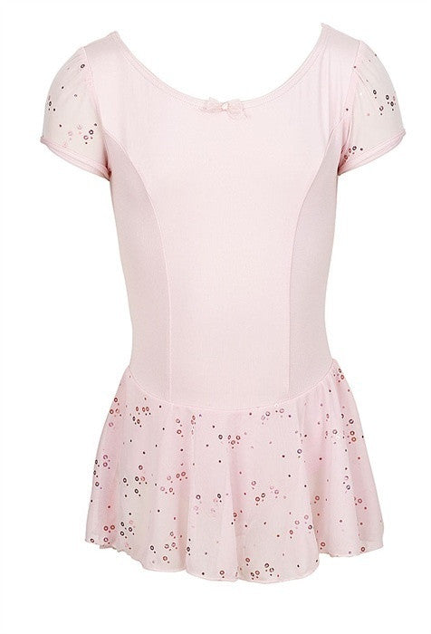 Capezio Sequined Puff Sleeve Dress in Pink
