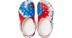 Crocs Kids' Classic Tie-Dye Graphic Clog - Red/White/Blue