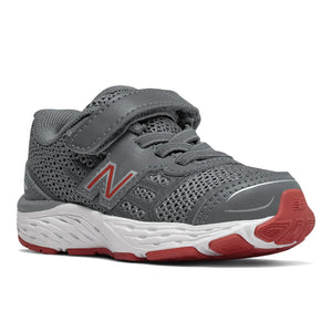 New Balance Kids 680v5 A/C Sneaker - Lead Grey/Red