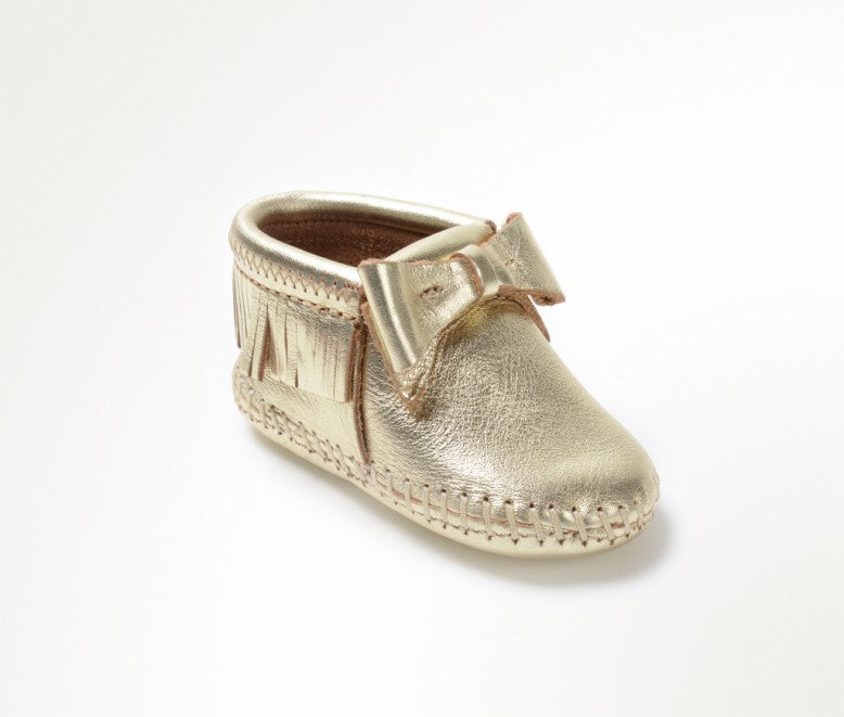 Minnetonka Moccasin Rosie Infant Bootie Gold Bow (Sizes 0-4)