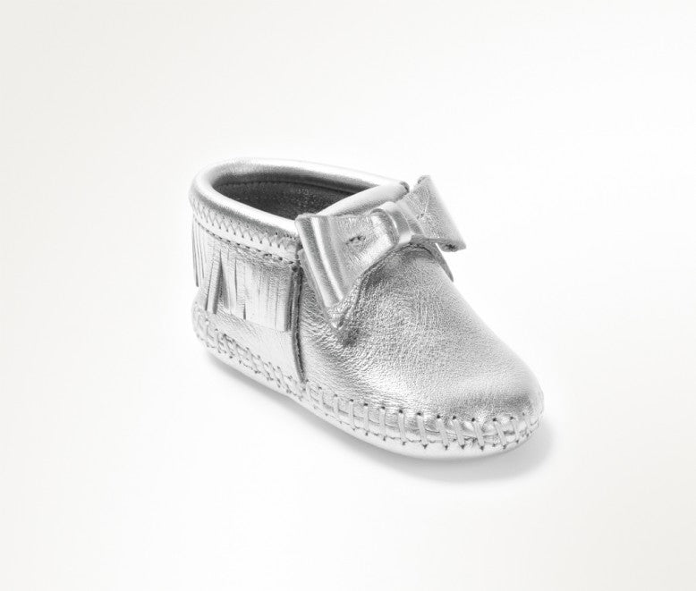 Minnetonka Moccasin Rosie Infant Bootie Silver Bow (Sizes 0-4)