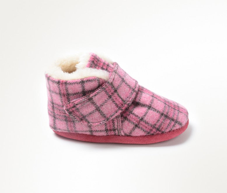 Minnetonka Moccasin Sawyer Infant Bootie Pink Plaid (Sizes 0-4)
