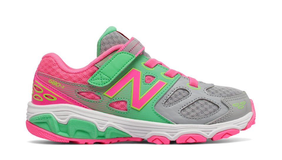 New Balance 680v3 Velcro S17 Grey/Pink/Green Glo