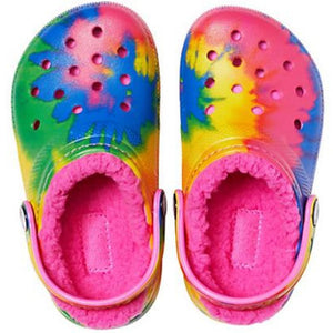 Crocs Kids' Classic Lined Tie-Dye Graphic Clog - Pastel/Multi