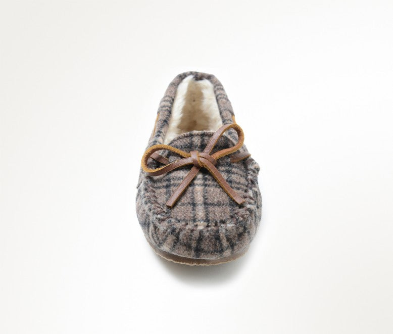 Minnetonka Moc Kids Cassie Slipper in Brown Plaid (Sizes 9-4)