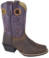 Sedona Western Boot in Brown/Purple -  - Little Feet Childrens Shoes  - 1