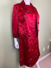 VIntage Hope Brothers Bespoke Red Satin Suit Dress