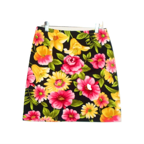 Floral BLack Pink Yellow STRETCH Mini SKIRT SZ 6P