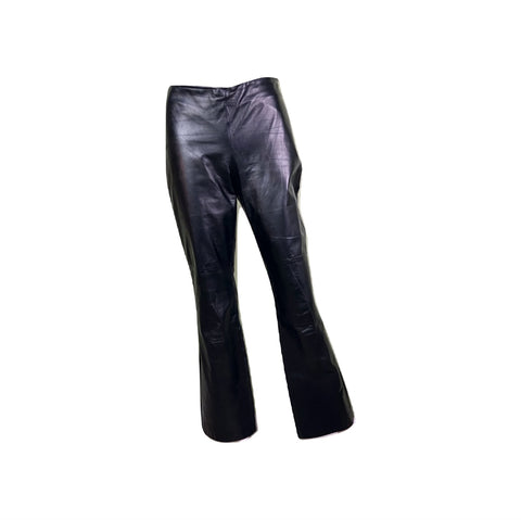 Black Leather Boot Cut Rock Star Pants