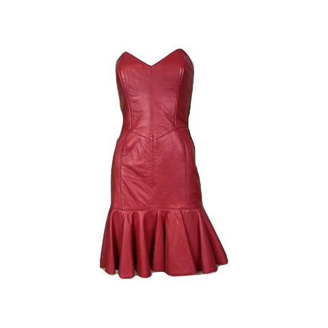 Vintage Michael Hoban Red Leather Bustier Ruffle Mini Dress